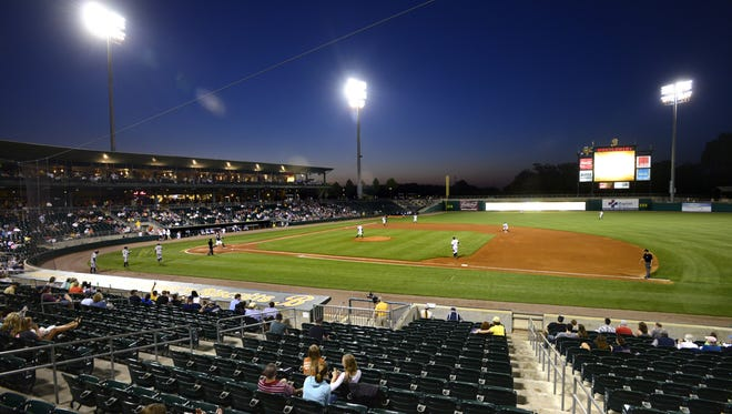The Montgomery Biscuits play the Mississippi Braves at Riverwalk Stadium in Montgomery, Ala. on Wednesday April 23, 2014.