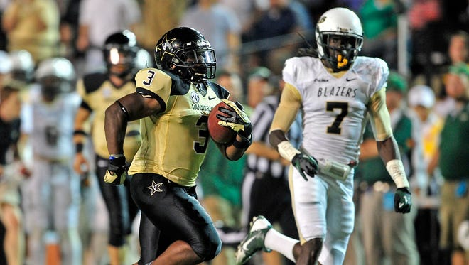 Vanderbilt running back Jerron Seymour led the team in rushing last season with 716 yards.