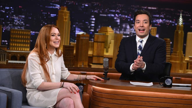 Lindsay Lohan visits 'The Tonight Show Starring Jimmy Fallon' on March 6, 2014 in New York City.