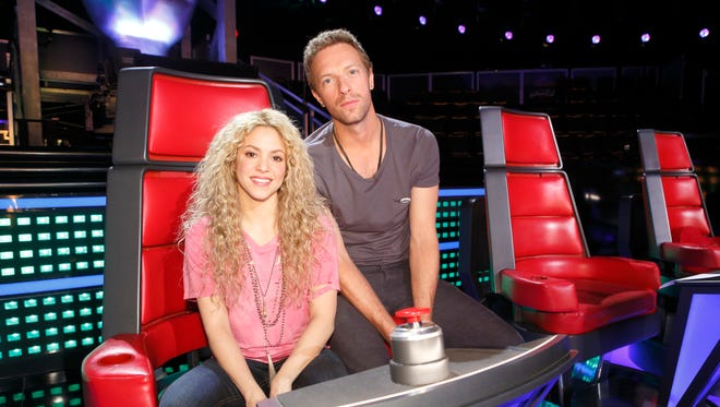 Coldplay's Chris Martin, right, will help Shakira and her three 'Voice' coaching colleagues advise singers in a second Battles Round.