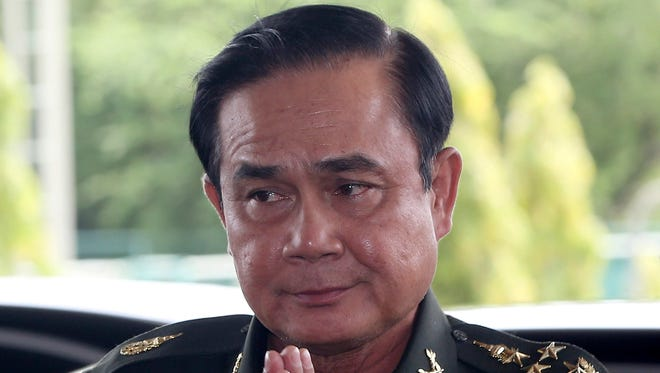 Thai Army Chief Gen. Prayuth Chan-Ocha arrives for a meeting with high ranking officials after declaring martial law in Bangkok, Thailand.