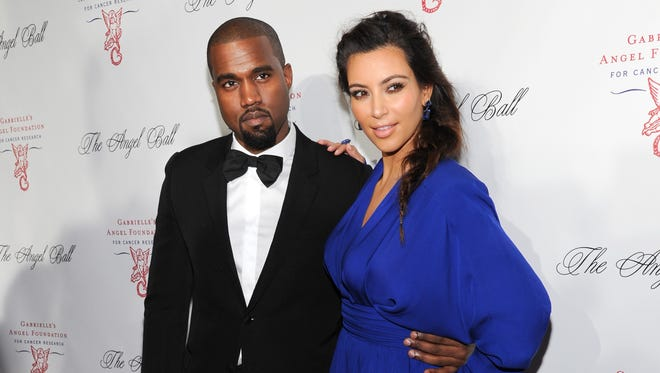 Kanye West and Kim Kardashian in New York in 2012.