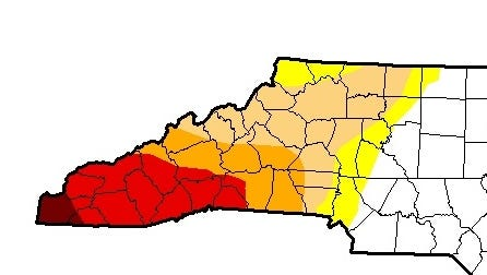 This map shows the severity of drought conditions in Western North Carolina as of Tuesday. The dark red area is in exceptional drought, bright red is extreme drought, orange is severe drought, light brown is moderate drought and yellow is moderately dry.