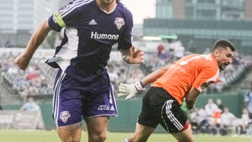 Louisville City FC forward Matt Fondy breaks in to the open field on his way to score a second goal in the first half against Harrisburg City Islanders on Wednesday night. Fondy would have three in the first half. Sept. 3, 2015
