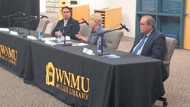 Senator Howie Morales, left, Mary Hotvedt, middle and Rudy Martinez all participated in a candidate forum last week that was held at Miller Library.