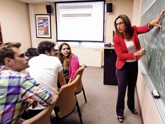 Rudy Gutierrez—El Paso Times UTEP language professor Maissa Khatib, right, is organizing an Arabic/Portuguese language summer camp at UTEP.
