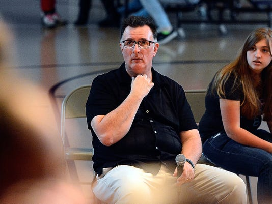 On the Brink Series - Pastor Bob Tome works with middle school students at Ferguson K-8 on a dinner theater production, Wednesday April 22, 2015. John A. Pavoncello - jpavoncello@yorkdispatch.com