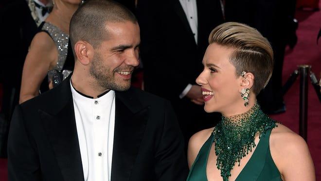 Scarlett Johansson and husband Romain Dauriac at the Oscars in February 2015.