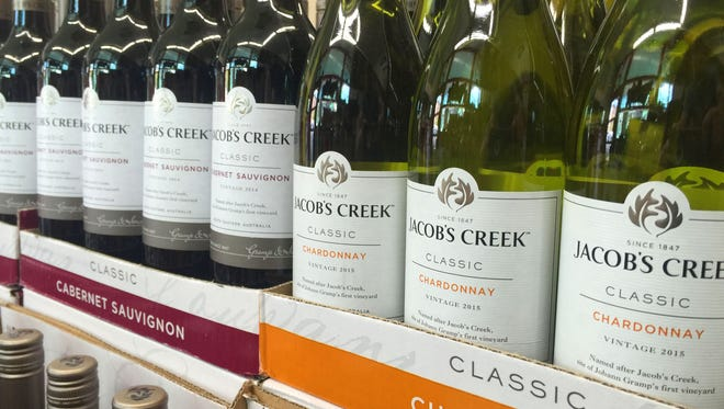 Bouharoun's Fine Wines & Spirits  is currently selling Jacob's Creek Classic chardonnay, cabernet and pinot grigio for $3.99.