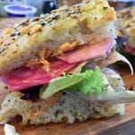 A recent Wildwood Market sandwich special featured Smoking Goose turkey, buffalo mozzarella, pickled beets, sun-dried tomato spread and spring mix on Amelia's bakery focaccia.