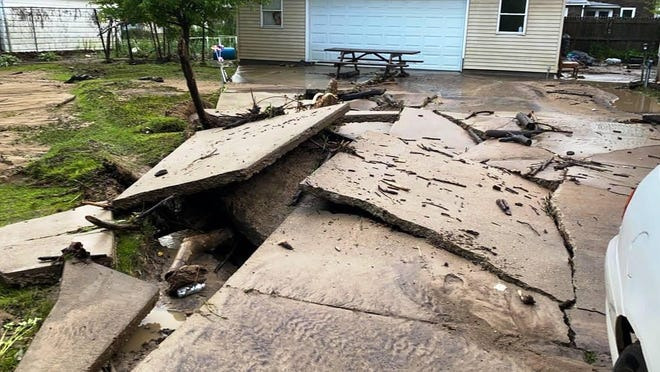 Flash-flood damage was obvious last week in DePue, a village in southeast Bureau County. More flash flooding was expected Wednesday in the area.