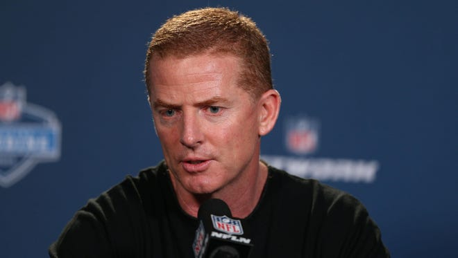 Dallas Cowboys coach Jason Garrett speaks to the media during the 2015 NFL Combine at Lucas Oil Stadium on Wednesday.