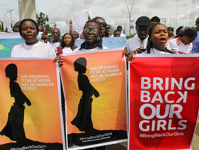People protest against the government's failure to rescue 276 abducted schoolgirls on May 7 in Port Harcourt, Nigeria.Militants from the Boko Haram group kidnapped the teenage schoolgirls on April 14 in Chibok province.