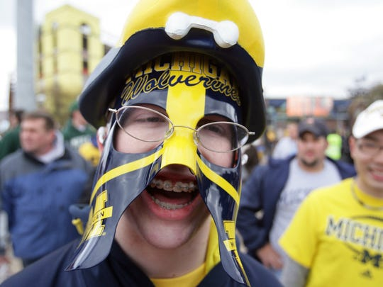 Michigan fan Matt Bray, 18, from Novi at a game in