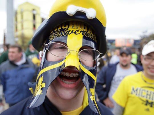Michigan fan Matt Bray, 18, from Novi at a game in 2008.