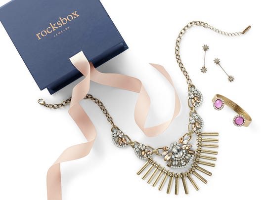 This photo provided by Rocksbox shows a Rocksbox jewelry gift set. Rocksbox.com, a rental jewelry subscription service, allows shoppers to get three items per month based on their tastes, delivered to their doors.