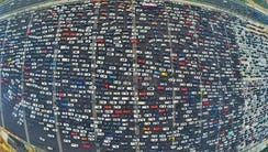 In Beijing, China, thousands of commuters were trapped