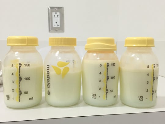 These four bottles of pumped breast milk represent