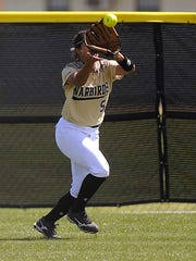 Abilene High center fielder Jaiden Franklin (5) runs down a fly ball during the top of the fourth inning of the Lady Eagles' 6-3 win on Wednesday, March 29, 2017, at Abilene High School.