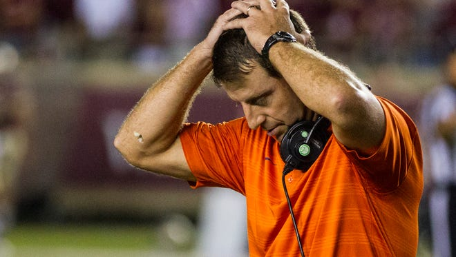 Clemson coach Dabo Swinney reacts at the end of regulation against Florida State in an NCAA college football game in Tallahassee, Fla., Saturday, Sept. 20, 2014. Florida State defeated Clemson 23-17 in overtime.