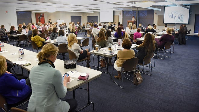 Diana Pierce speaks during Tuesday's Mentor Morning at St. Cloud State University.