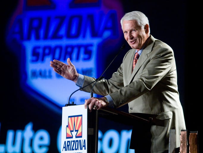 April 8, 2010: Lute Olson gives a speech while being inducted into the Arizona Sports Hall of Fame in Phoenix.