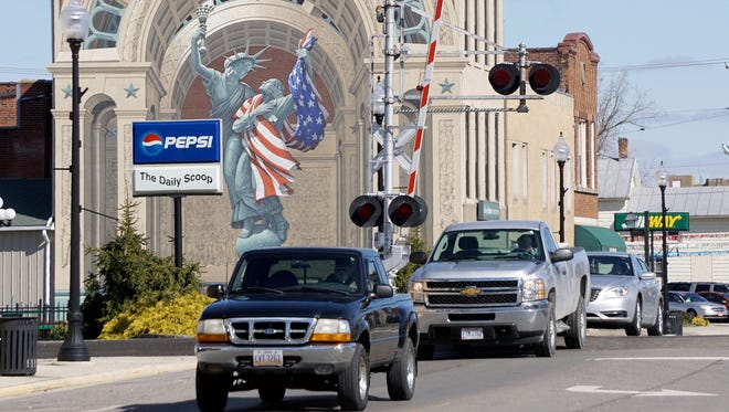 The Liberty Remembers mural is one of three in downtown Bucyrus painted by well-known muralist Eric Grohe.