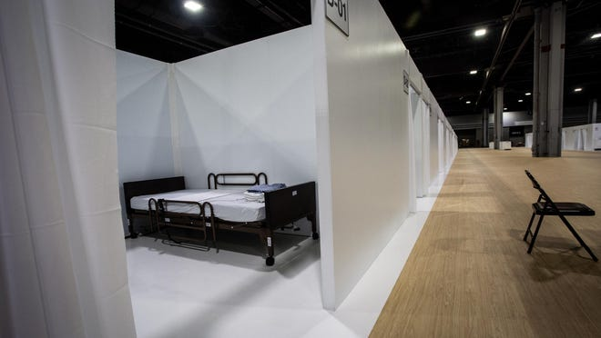 One room at a massive temporary hospital is shown at the Georgia World Congress Center in April in Atlanta.