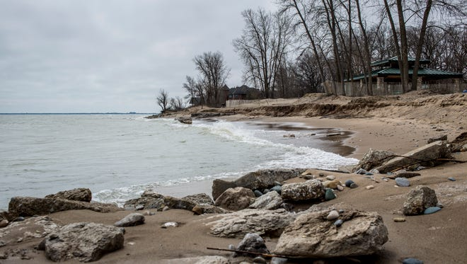 The beach is seen eroded Tuesday, April 19, 2016 at Fort Gratiot County Park. St. Clair County Parks and Recreation is working on plans to remove exposed concrete and bring in sand to extend the beach.