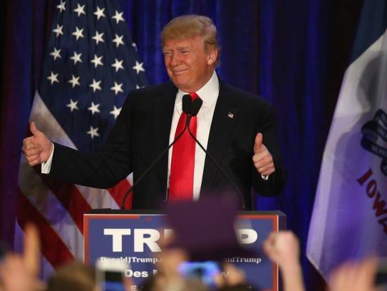 Donald Trump speaks at his Iowa Caucus night gathering