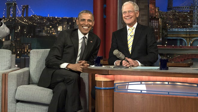 """President Barack Obama told David Letterman on his show Monday: """"I was thinking you and me could play some dominoes. ... We could go to Starbucks."""""""