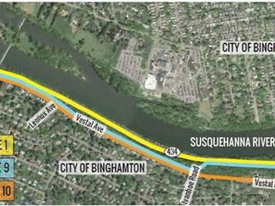 Three alternatives presented by the Department of Transportation for the Binghamton Greenway.