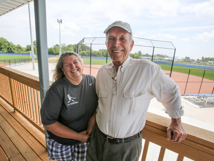 General Manager Merri Taylor (left) and developer Harrison Epperly (left) on June 16, 2014, stand on the deck of the Home Plate Club House at the Hendricks County Sports Complex,  10508 E. U.S.136, Clermont.