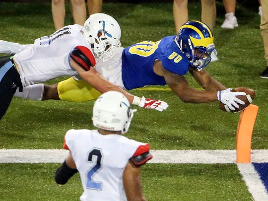 Delaware receiver Diante Cherry scores his second touchdown