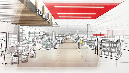 "This image provided by Target Corp. shows a rendering of an area of a redesigned Target store, featuring an ""inspiration"" entrance, meant to inspire people to explore."