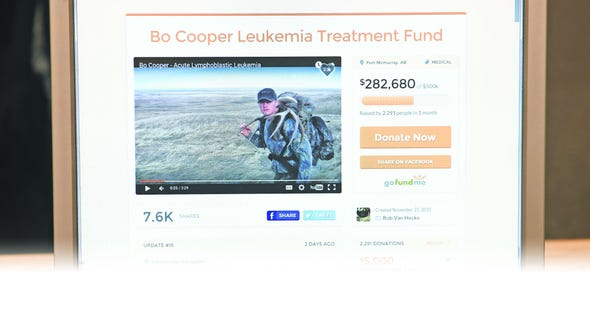 A photo of Bo Cooper's GoFundMe website.