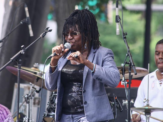 American Jazz vocalist Alfie Moss performs during the 27th DuPont Clifford Brown Jazz Festival Saturday at Rodney Square in Wilmington.