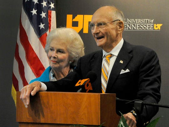 James and Natalie Haslam speak after the trustees voted  to rename UT's College of Business Administration the James A. Haslam II College of Business following a $50 million gift from Pilot Flying J founder Jim Haslam and his family, Oct. 3, 2014. MICHAEL PATRICK/NEWS SENTINEL