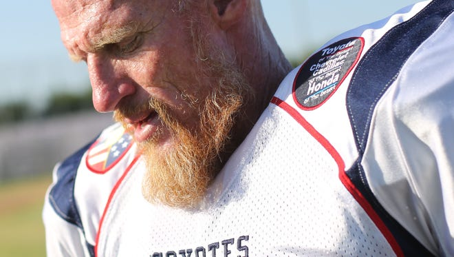 Former USC and Oakland Raiders quarterback Todd Marinovich, 48, at practice with his team the SoCal Coyotes on Saturday, August 12, 2017 in Indio.