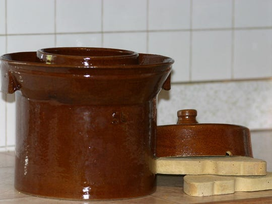 Sauerkraut is probably one of the best-known and easiest ferments to try, but practically any fruit or vegetable can be kept using this anaerobic process that creates an acidic environment not friendly to bad bacteria. Here is a specialized Harsch fermenting crock.