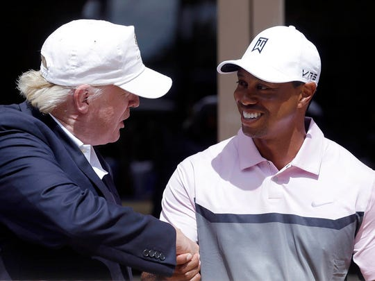 Tiger Woods and Jack Nicklaus played golf with President Donald Trump on Saturday.