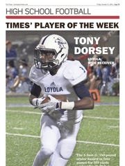 Loyola receiver Tony Dorsey captured Player of the