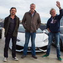 Left to right: Richard Hammond, Jeremy Clarkson and James May during a press event on July 17, 2015 in Perth, Australia.