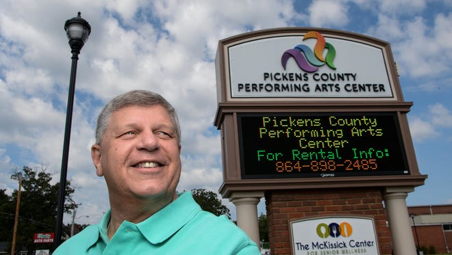 Jay Pitts, the Pickens County Tourism and Marketing Director, at the county's Performance Arts Center in Liberty on Thursday.