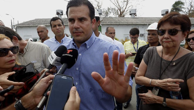 Puerto Rico Gov. Ricardo Rossello at a press conference in the fuel terminal in Guaynabo, Puerto Rico, on Sept. 26, 2017.