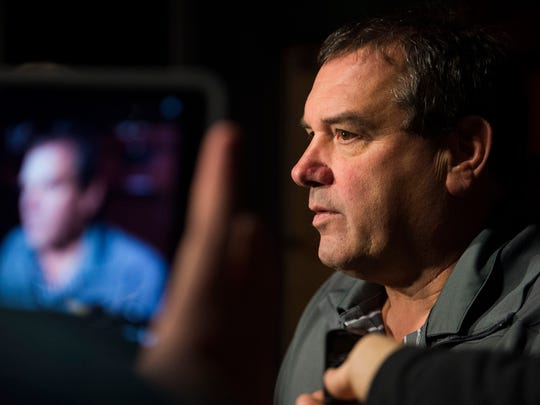 Brady Hoke, University of Tennessee's new defensive line coach speaks to the media in the Ray & Lucy Hand Digital Studio on UT's campus Tuesday, March 7, 2017.