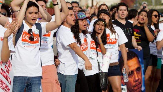Immigrant youth leaders marched in Phoenix earlier this year to call on  President Obama to end deportations.