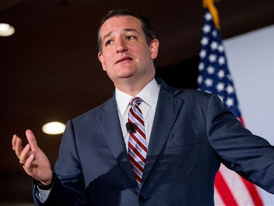 FILE - In this June 18, 2015 file photo, Republican presidential candidate, Sen. Ted Cruz, R-Texas speaks in Washington. Cruz's recent poll results earned him a place in the first prime time Republican presidential debate, Thursday.