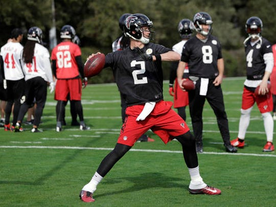 Atlanta Falcons quarterback Matt Ryan (2) throws during a practice for the NFL Super Bowl 51 football game Wednesday, Feb. 1, 2017, in Houston. Atlanta will face the New England Patriots in the Super Bowl Sunday.