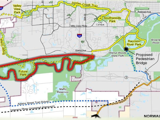 A new greenway surrounding the Raccoon River could